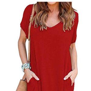 Dresses & Skirts - Casual Short Sleeve Loose Pocket Long Dress